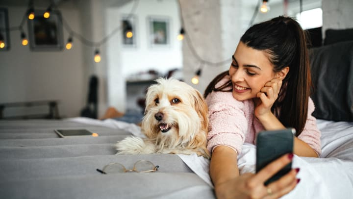 Smiling dog owner taking a selfie with her dog on her bed at Anatole on Briarwood