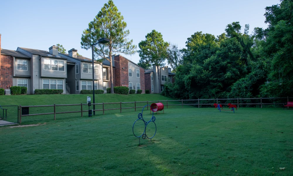 Bark Park with ample running grounds at Creekwood Apartments in Tulsa, Oklahoma