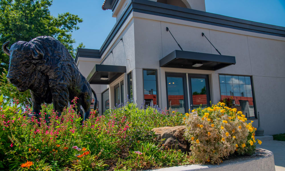 Clubhouse entrance and bison at Council Place Apartments in Oklahoma City, Oklahoma