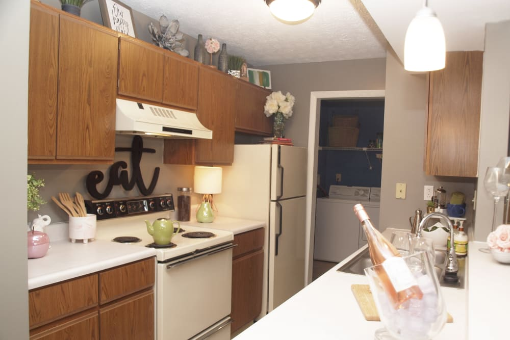 Kitchen with ample countertop space at Fox Chase Apartments in Cincinnati, Ohio