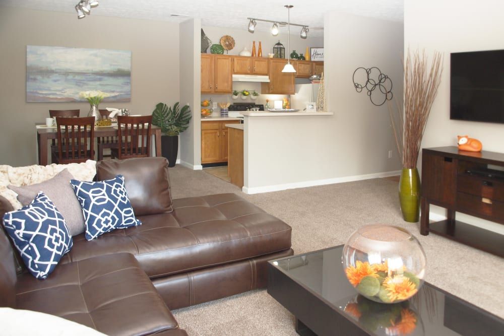 Comfortable living room at Waterford Place in Loveland, Ohio
