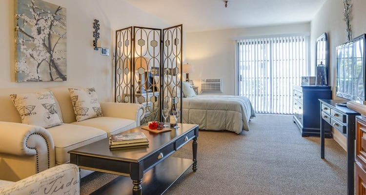 Spacious studio floor plan with a back porch at The Commons at Woodland Hills in Woodland Hills, California