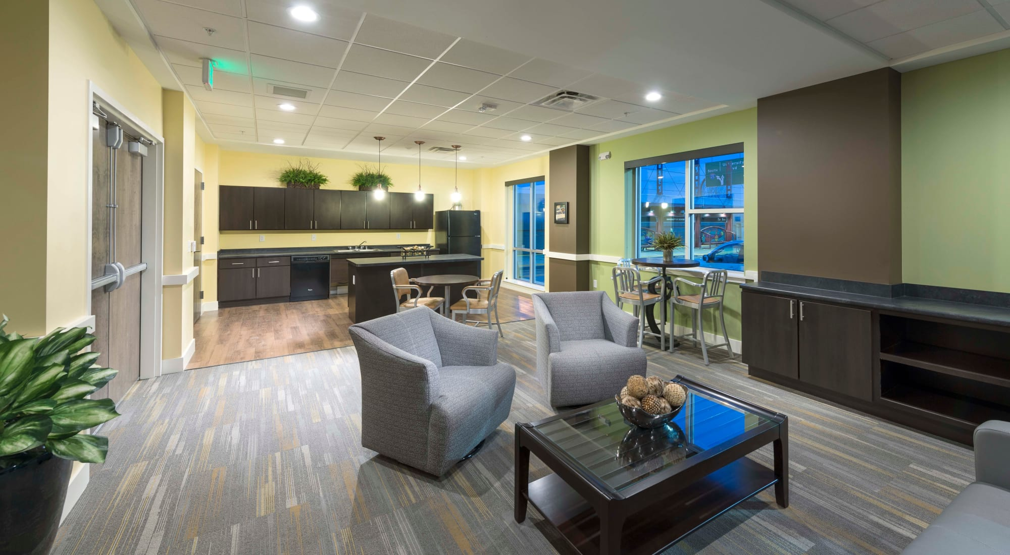 Beautiful interior shot of the building at University Station Apartments in Denver, Colorado