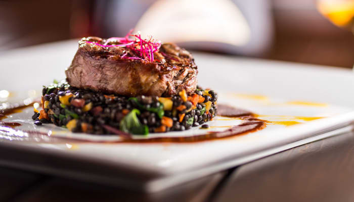 Ornate steak dish at The Springs at Carman Oaks in Lake Oswego, Oregon