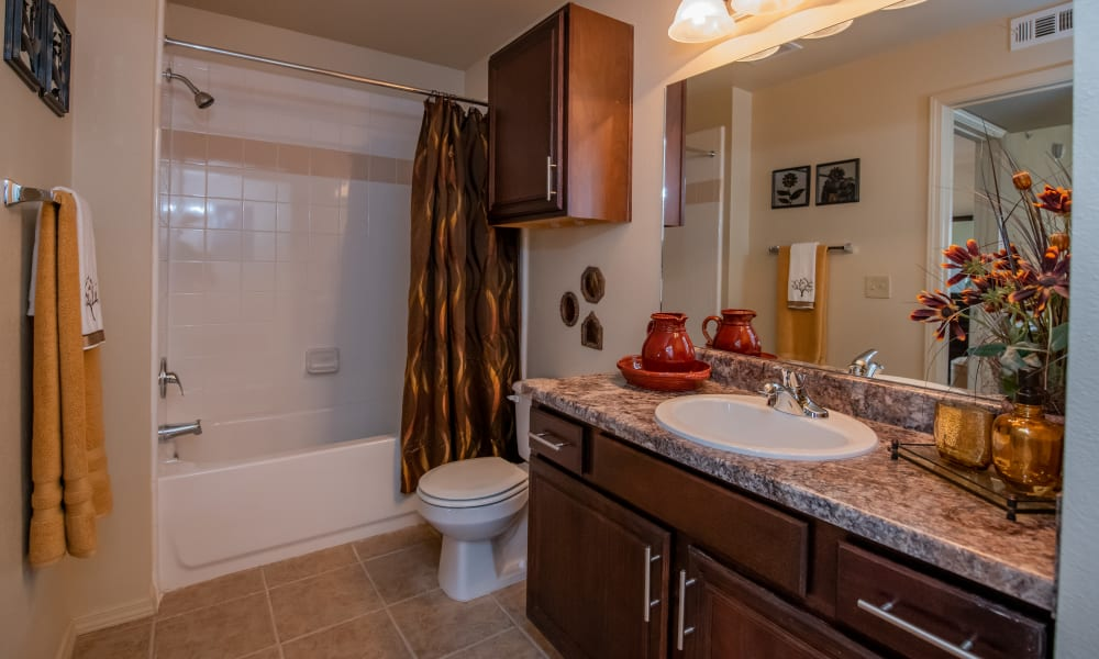 Large bathroom with shower and tub combination at Park at Tuscany in Oklahoma City, Oklahoma