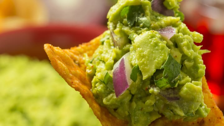 Guacamole on a chip at a restaurant near The Davis in Fort Worth, Texas