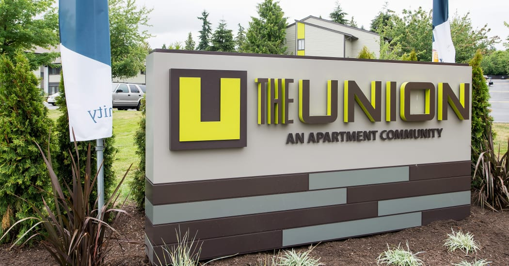 Our monument sign at The Union welcomes residents and their guests