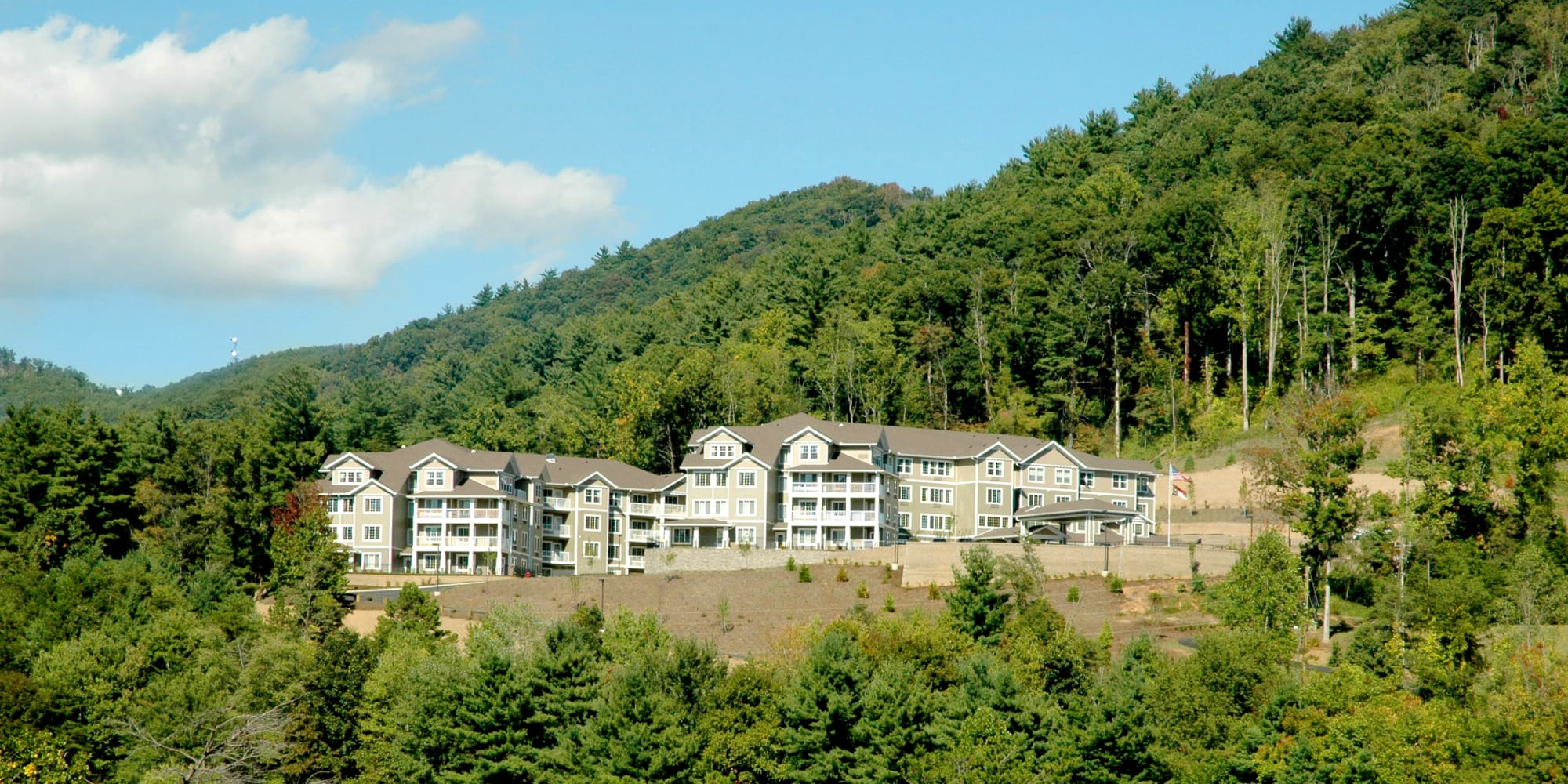 View from the bottom fo the hill at Bella Vista Gracious Retirement Living in Asheville, North Carolina