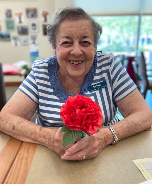 One Woodstock resident shows off her gorgeous paper flower.