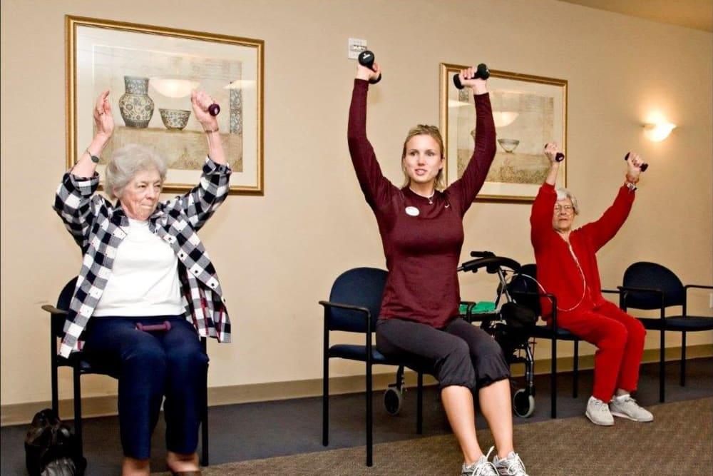 Residents working out at Patriots Landing in DuPont, Washington.