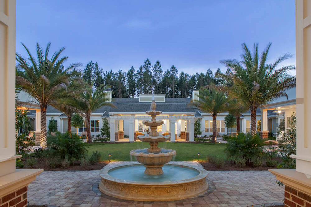 The outdoor water feature at San Jose Gardens Alzheimer's Special Care Center in Jacksonville, Florida