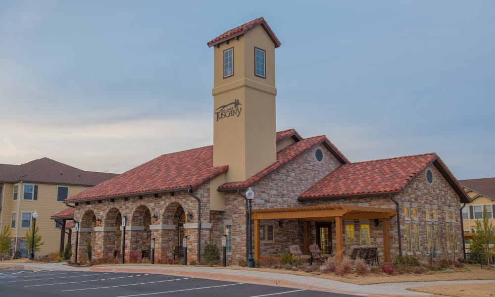 Side view of clubhouse building at Park at Tuscany in Oklahoma City, Oklahoma