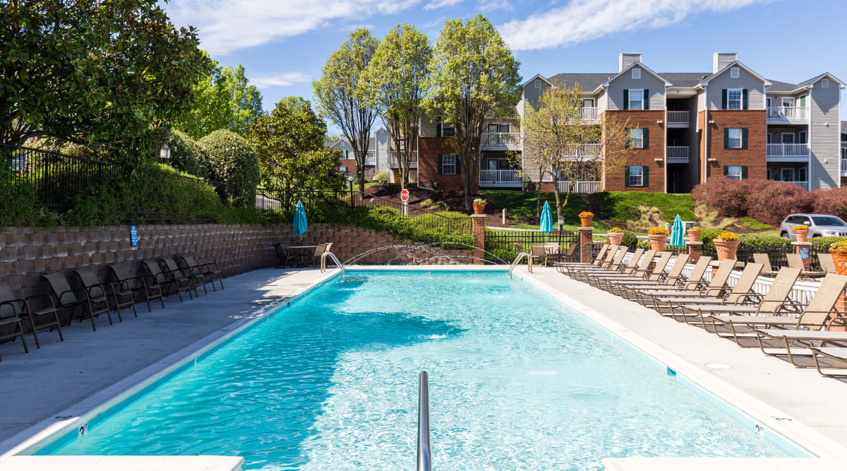 Stunning pool at Glade Creek Apartments in Roanoke, Virginia
