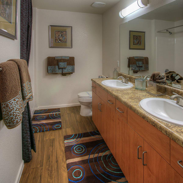 Beautiful modern bathroom with double sinks at Park on Bell in Phoenix, Arizona