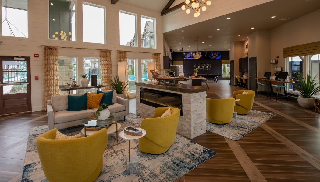Spacious, luxury clubhouse at Bend at New Road Apartments in Waco, Texas