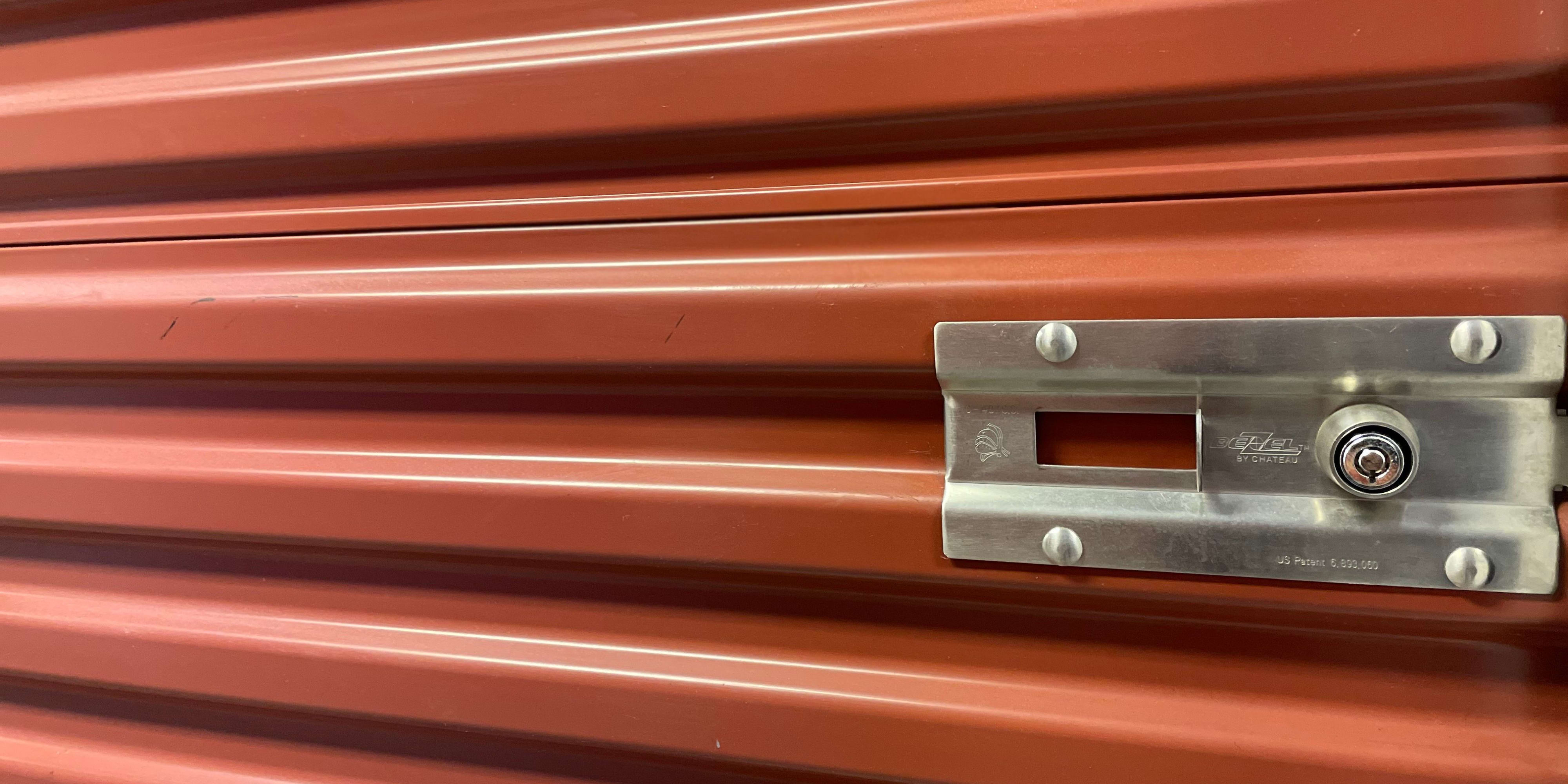 Red storage locker door at SOJO Self Storage in South Jordan, Utah