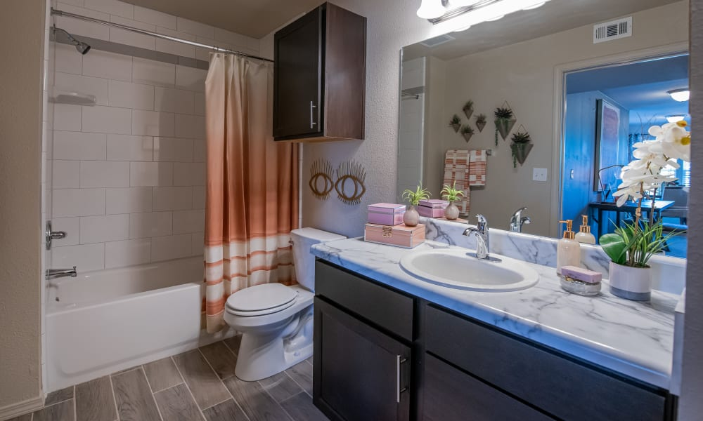Spacious bathroom at Cottages at Crestview in Wichita, Kansas