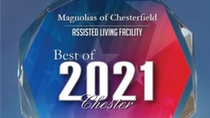 Plaque with Best of Assisted Living Award 2021 written on it