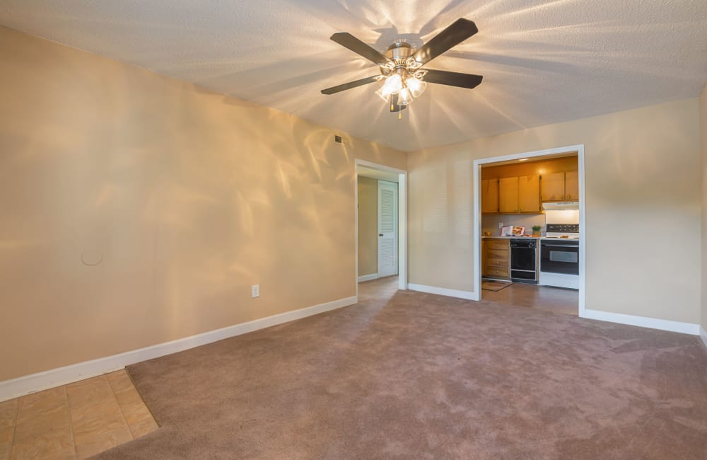 A spacious living room with plush carpeting and a ceiling fan at Lakewood Apartment Homes in Salisbury, North Carolina