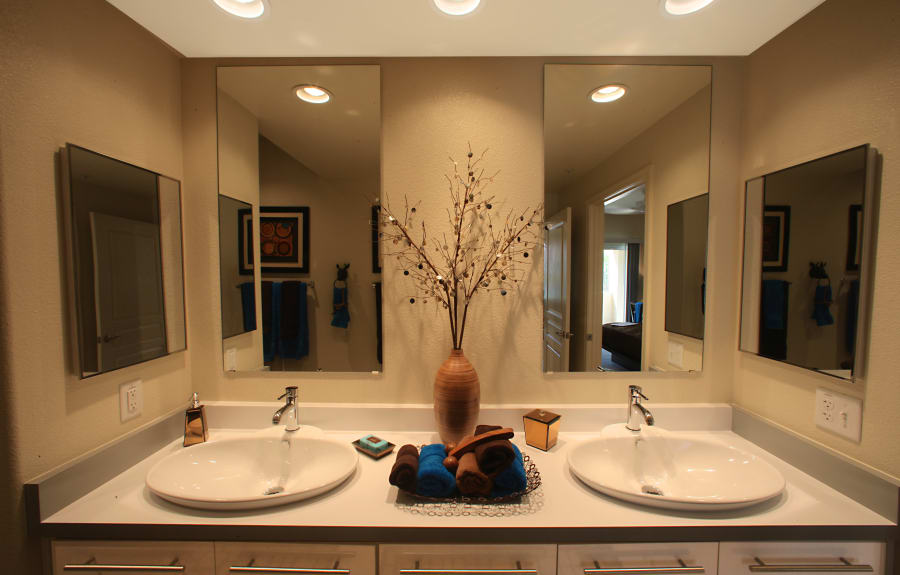 Bathroom with double sinks at Sage Luxury Apartment Homes in Phoenix, Arizona