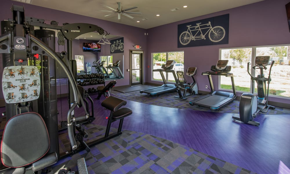 Large fitness center at Cottages at Crestview in Wichita, Kansas
