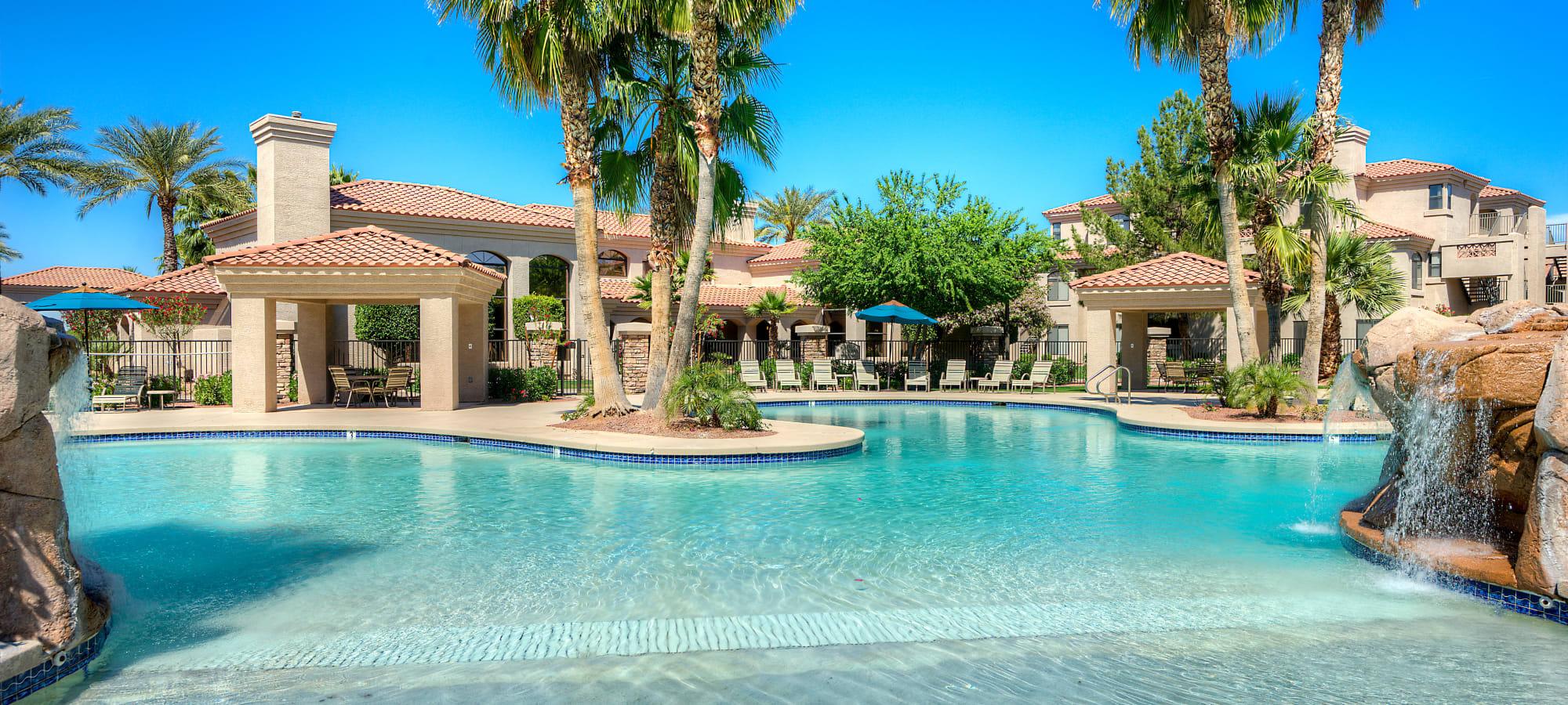 Beautiful swimming pool area at San Pedregal in Phoenix, Arizona