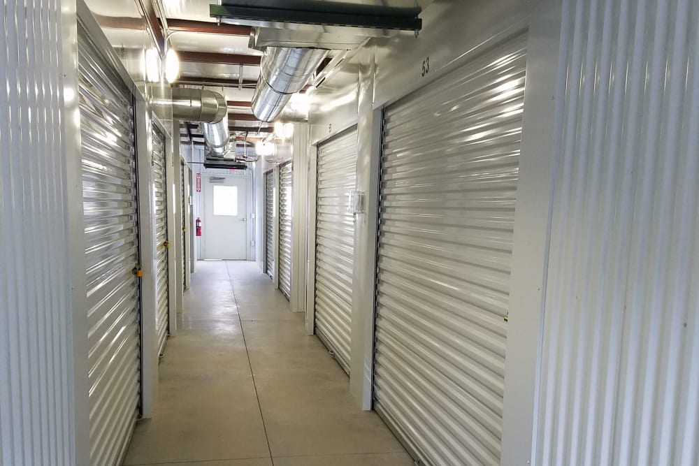 Interior storage units at Denton Road Mini Storage in Dothan, Alabama