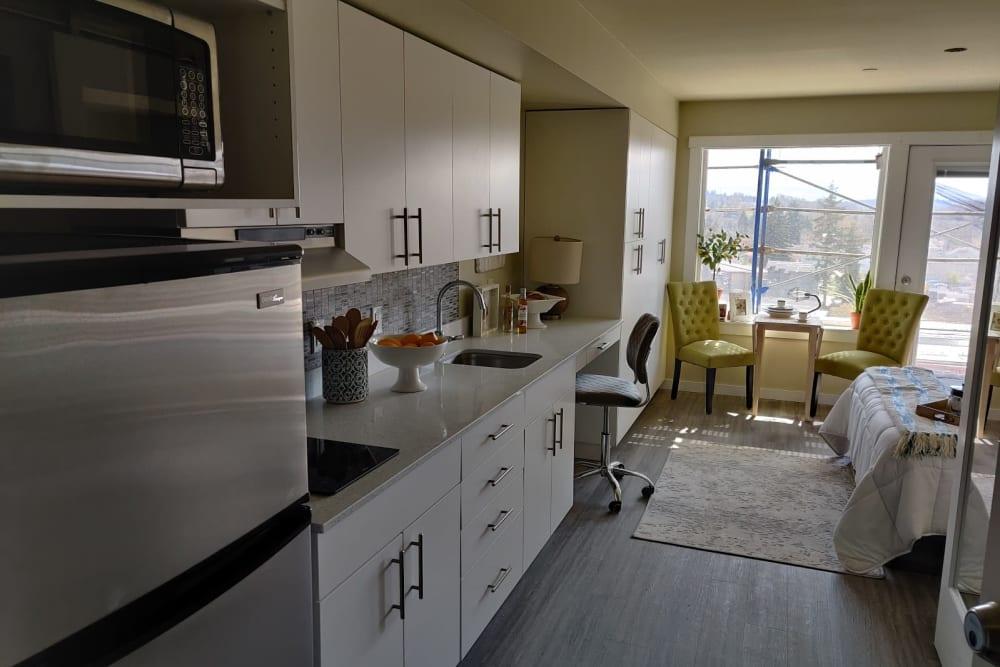 Cozy kitchen at Cubix at Othello in Seattle, Washington