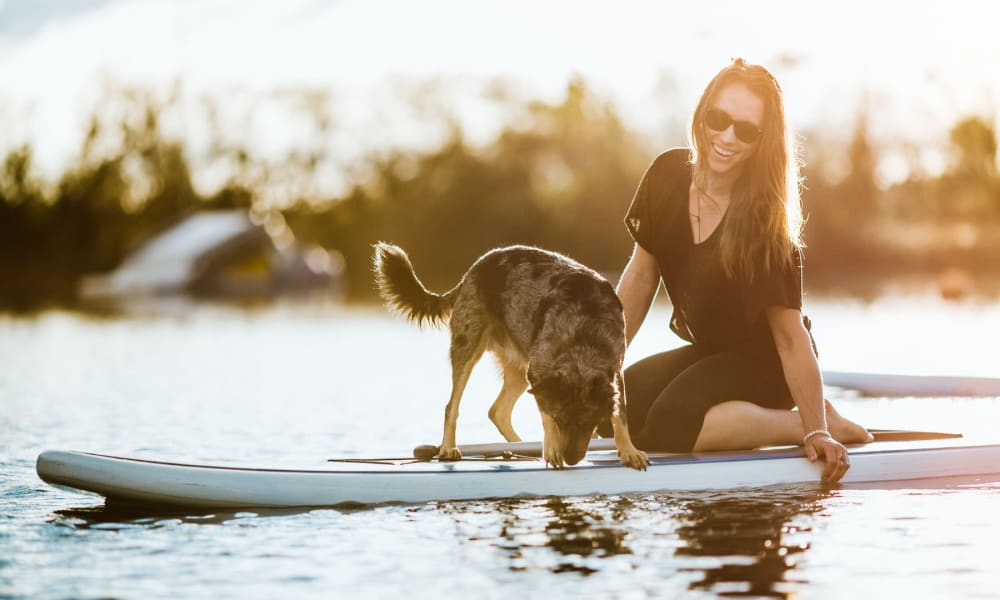 Resident and her dog paddleboarding at Shadow Cliffs Regional Recreation Area near Pleasanton Place Apartment Homes in Pleasanton, California