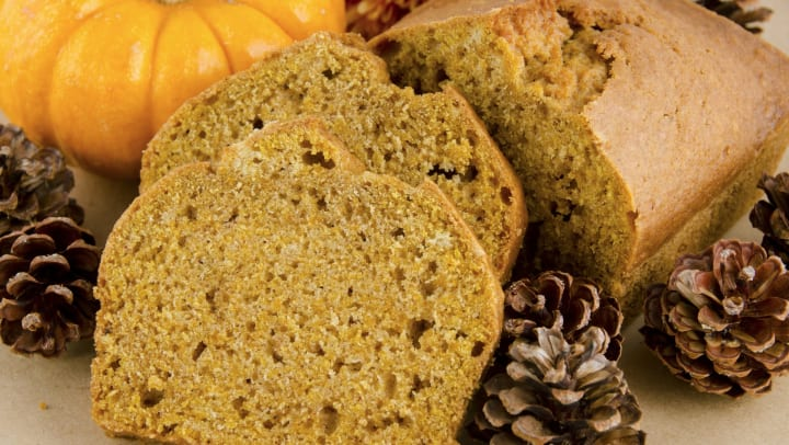 Delicious looking pumpkin bread next to a pine cone and a small pumpkin at Olympus Auburn Lakes