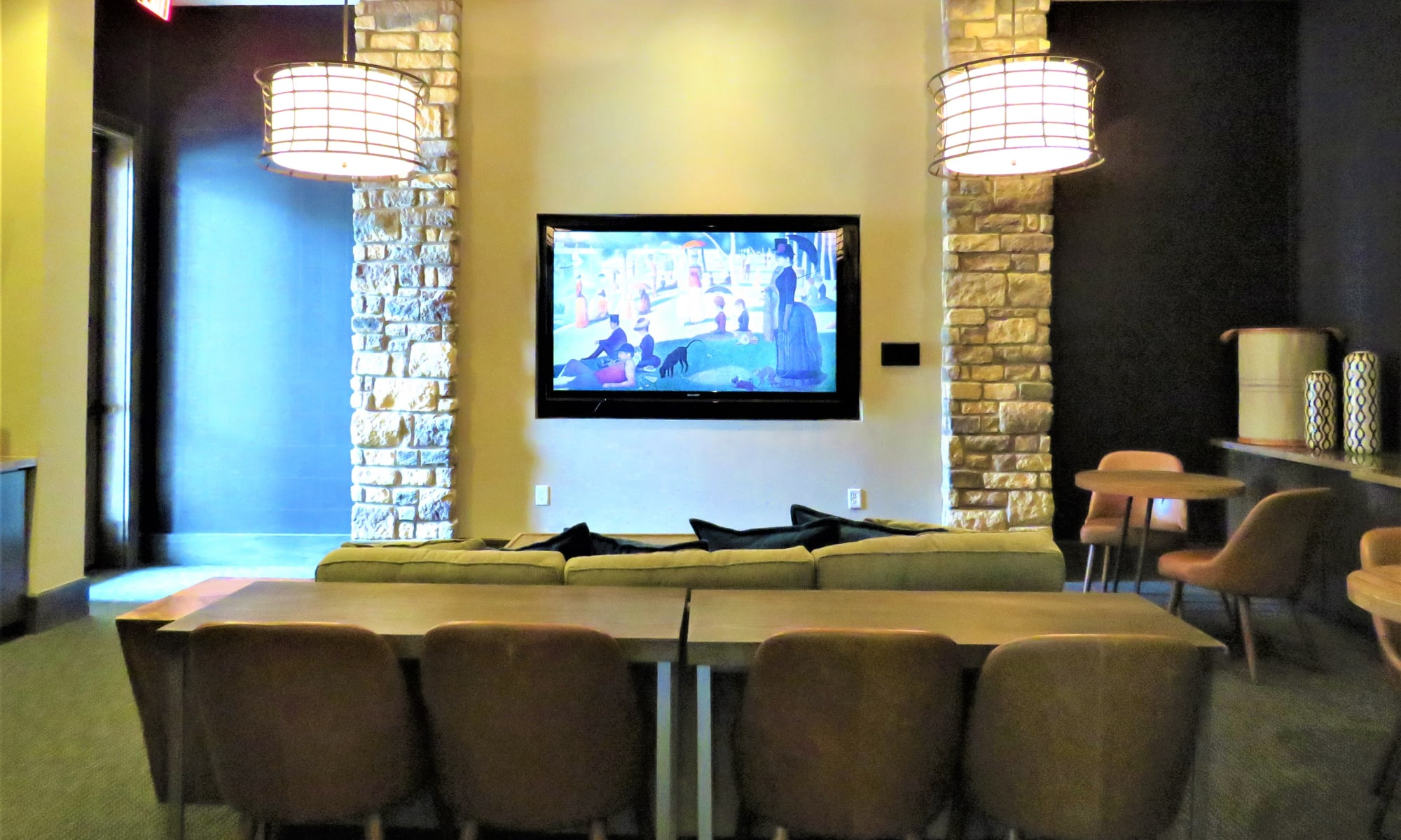 Another interior view of the beautifully decorated clubhouse at The Abbey at Spring Town Center