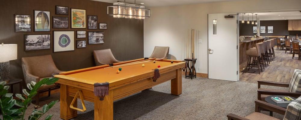 Billiards table at The Springs at Clackamas Woods in Milwaukie, Oregon