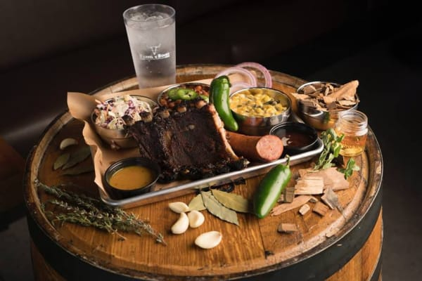 A meal offered by Barrel and Bones at Lux on Main in Carrollton, Texas