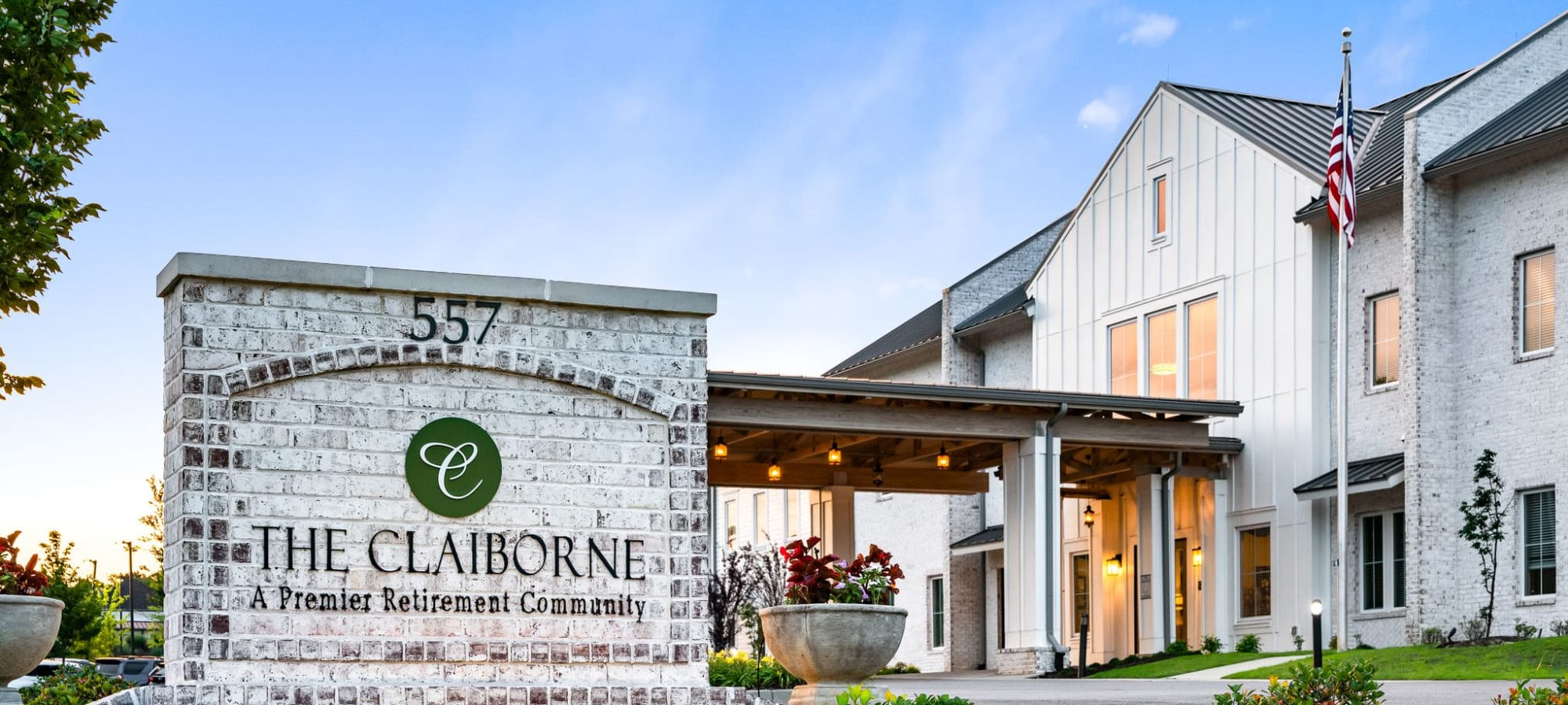 Front exterior at The Claiborne at West Lake in Martinez, Georgia.