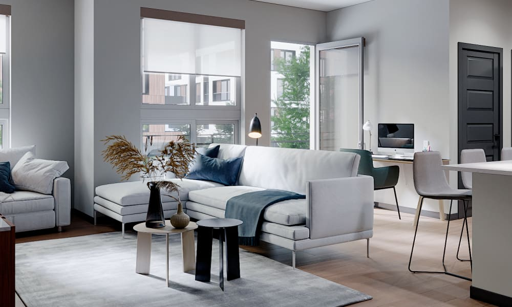 Rendering of a modern living room at Solana Stapleton Apartments in Denver, Colorado