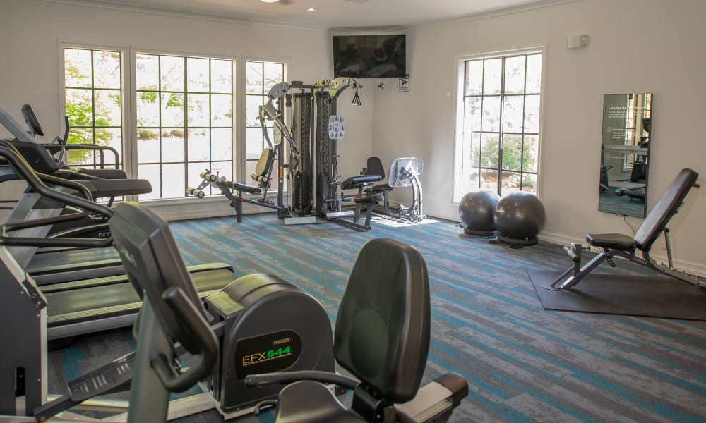 The gym at Arbors of Pleasant Valley in Little Rock, Arkansas