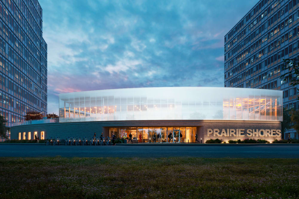 Rendering of the Front exterior at dusk at Prairie Shores