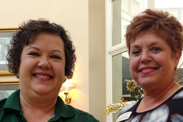 Lisa P & Sharon W recognized for 15 years of service to our Regency Pointe residents at Discovery Senior Living in Bonita Springs, Florida