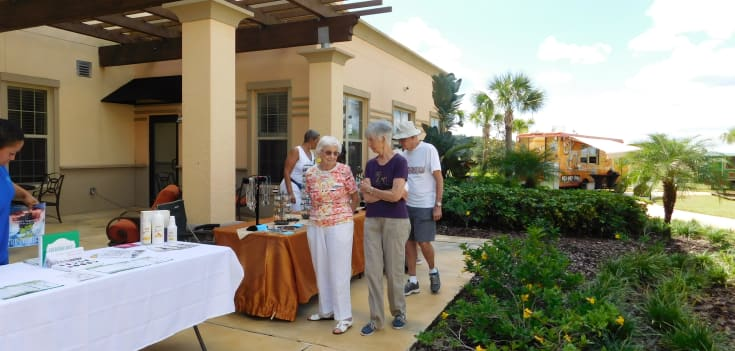 senior residents gathering for an outdoor event