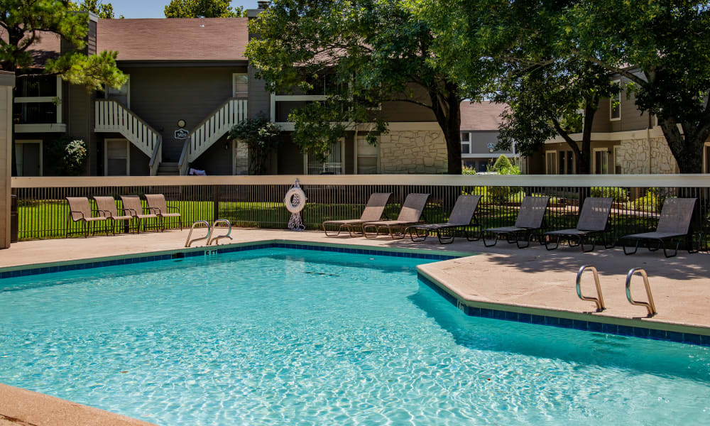 Sparkling pool at Eagle Point Apartments in Tulsa, Oklahoma