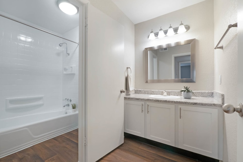An apartment bathroom at Riverside North in Chattanooga, Tennessee