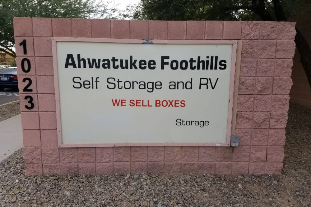 Ahwatukee Foothills Storage signboard
