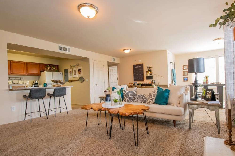 Bright living room at Colonies at Hillside in Amarillo, Texas