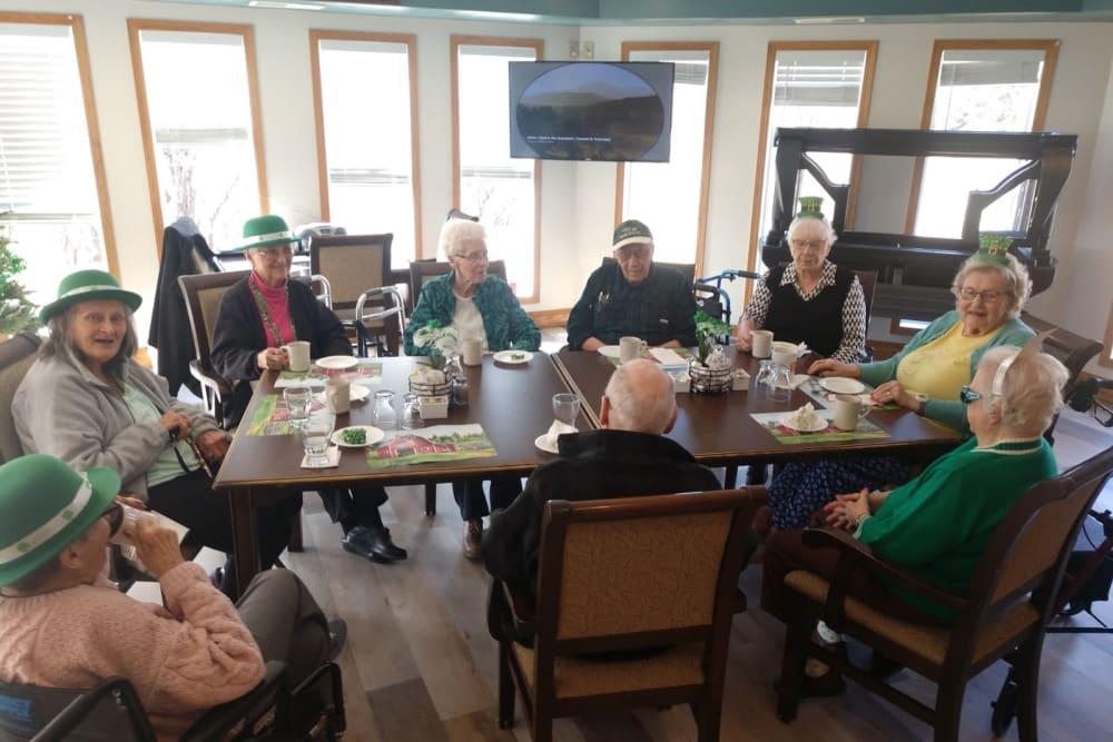 Residents celebrating St. Patrick Day at Whispering Oak Place in Ellendale, Minnesota