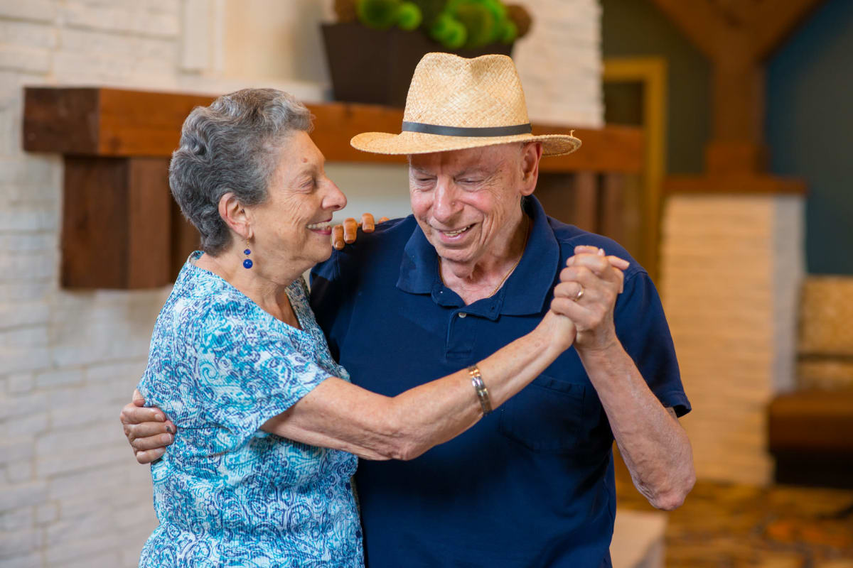 Couple dancing together at Town Village in Oklahoma City, Oklahoma