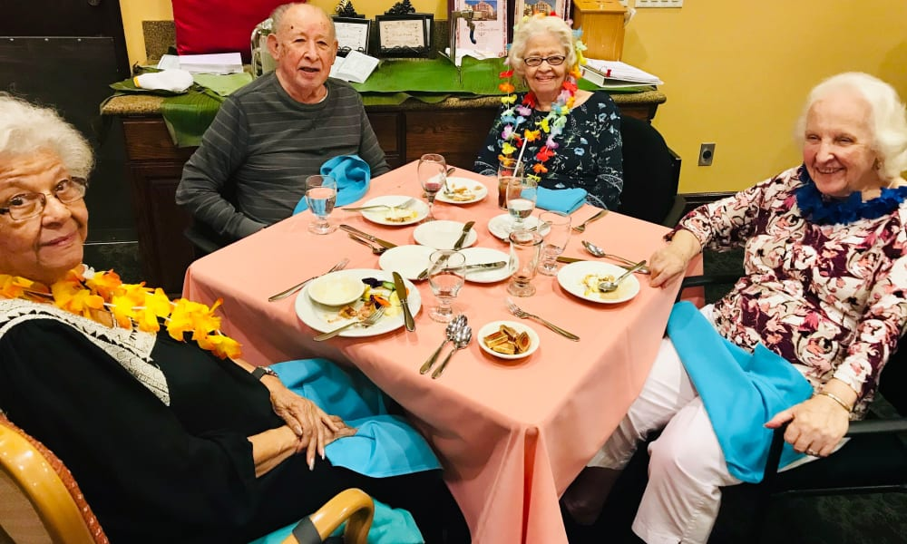 Residents sat down for a meal at The Fair Oaks in Pasadena, California
