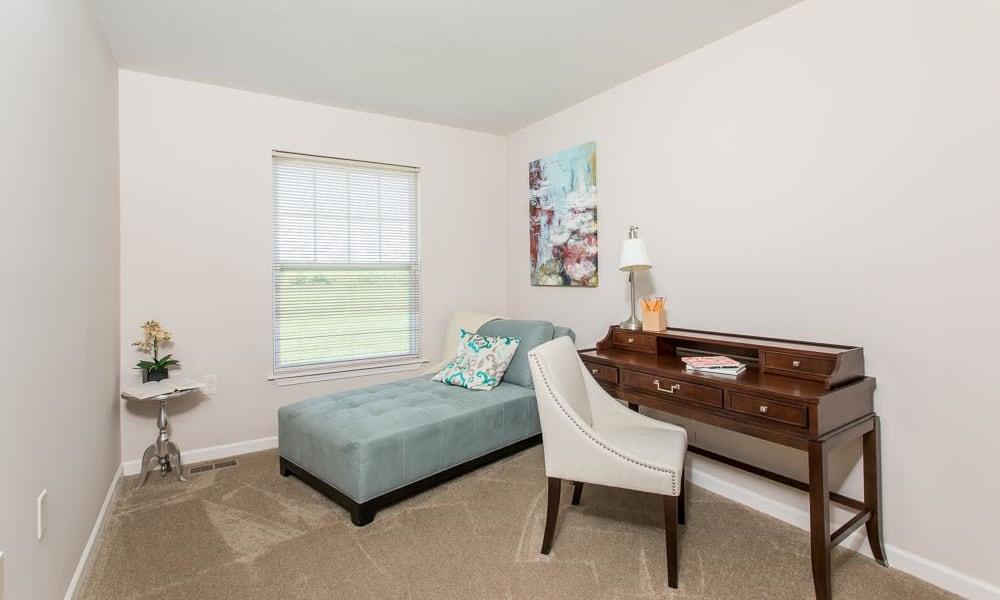 Modern bedroom at Preserve at Autumn Ridge in Watertown, New York
