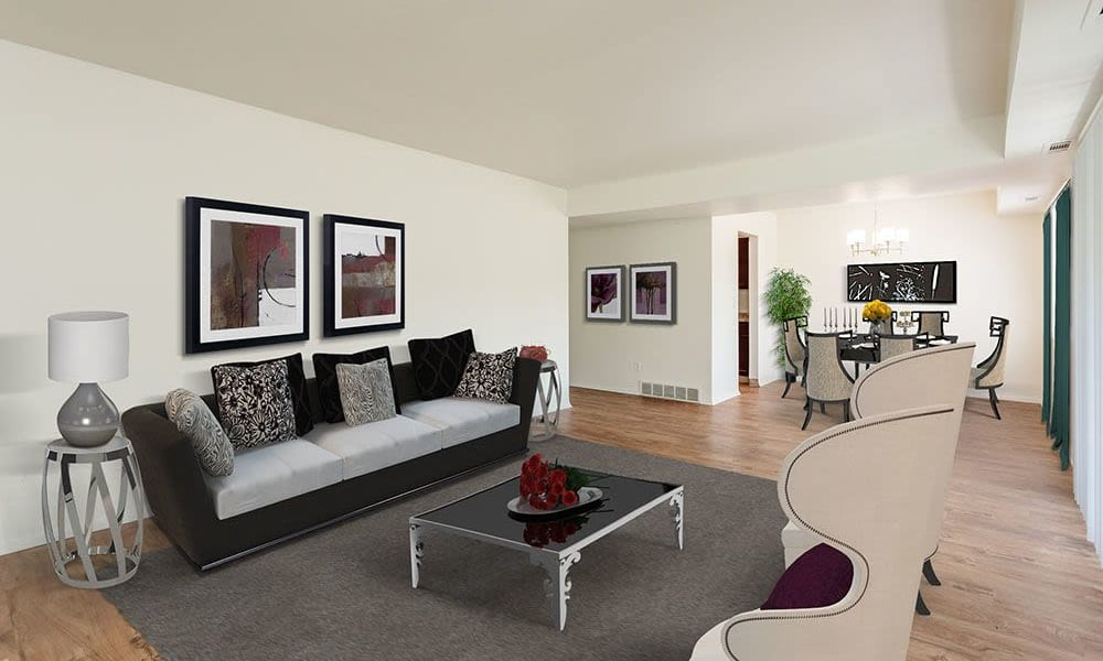 Living room at The Meadows Apartments in Syracuse, New York