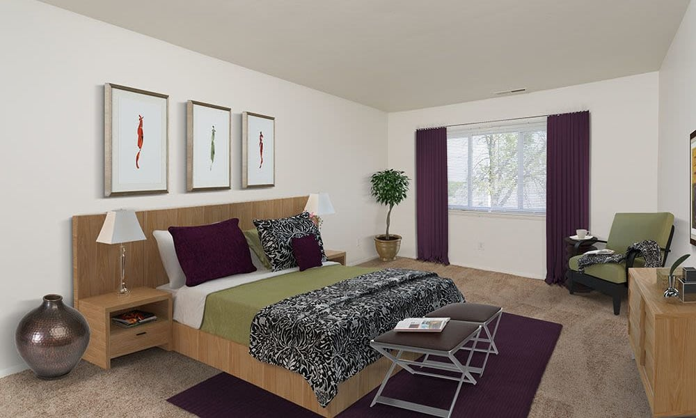 Bedroom at The Meadows Apartments in Syracuse, New York