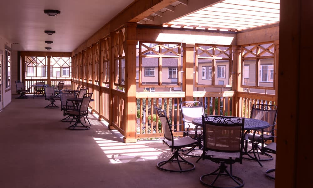 elevated patio overlooking the courtyard at Quail Park at Browns Point in Tacoma, Washington